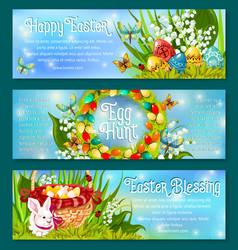 Easter egg hunt celebration banner template set vector