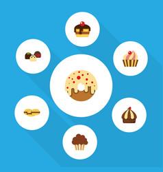 Flat cake set of cupcake cake doughnut and other vector