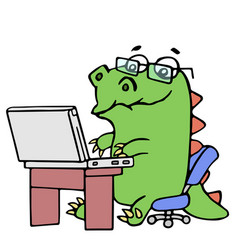 cute dinosaur working at the notebook vector image