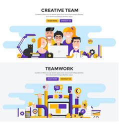 flat design concept banners - creative team and vector image