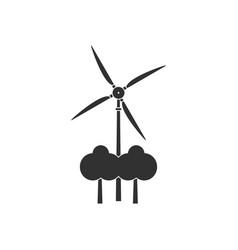 black icon on white background wind turbine vector image