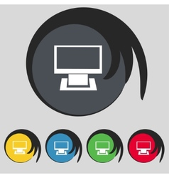 Computer widescreen monitor sign icon set vector