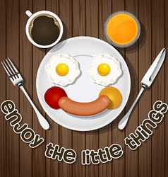 Smiling bear make with fried eggs and sausage an vector