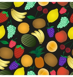 Colorful various fruit summer seamless dark vector