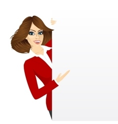 Pretty woman with a blank presentation board vector