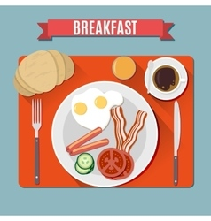 Small breakfast top view vector