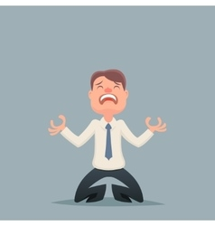 Vintage businessman despair suffer grief character vector