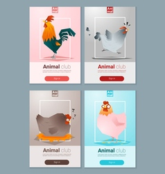 Set of templates with chicken for web design 1 vector