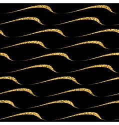 Gold wave seamless pattern black 2 vector image