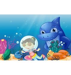 A young scuba diver vector image
