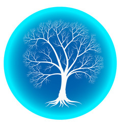 Abstract winter tree with bare branches on a blue vector