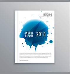 Annual report brochure flyer design with blue ink vector
