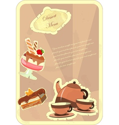 beautiful vintage card with a strawberry dessert vector image