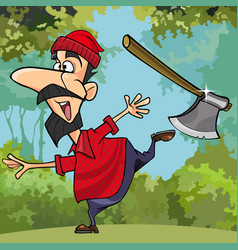 cartoon funny lumberjack throwing axe in the woods vector image vector image