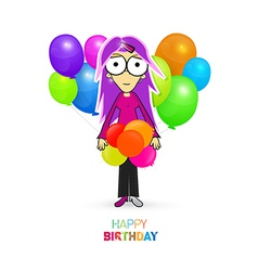 Colorful Happy Birthday Theme with Girl and vector image