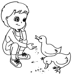 Coloring book child feeding ducks vector