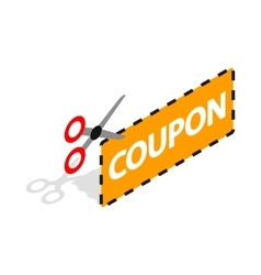 Coupon code icon isometric 3d style vector