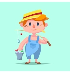 Cute catroon Boy fishing vector image