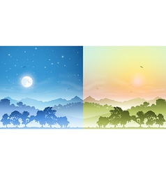 Day and Night Landscapes vector image