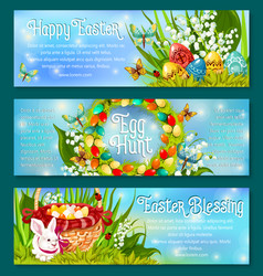 Easter egg hunt celebration banner template set vector