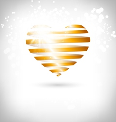 Golden Spiral heart with glow on grayscale vector image