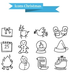 Hand draw of holiday icons vector