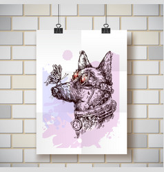 hand drawn sketch of dog steampunk style vector image