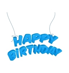 Happy birthday blue words hanging icon vector