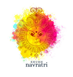 Happy navratri with maa durga face on watercolor vector