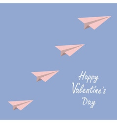 Happy Valentines Day Love card Origami paper plane vector image vector image