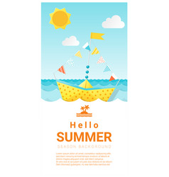 Hello summer background with colorful paper ship vector