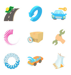 Hijacking icons set cartoon style vector