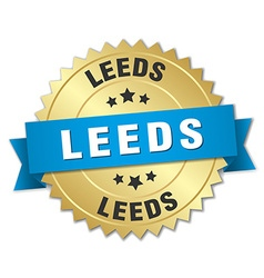 Leeds round golden badge with blue ribbon vector