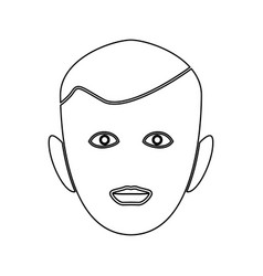 little boy face black color path icon vector image vector image