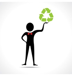 Man holding a recycle icon vector image vector image