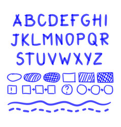 Marker hand written doodle letters and vector