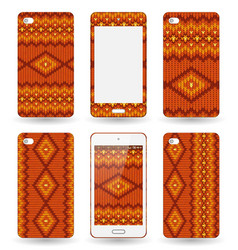 Mobile phone cover with knitted texture vector