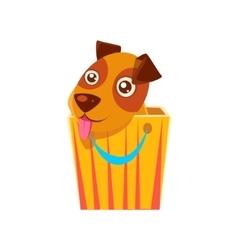 Puppy hiding in shopping bag vector