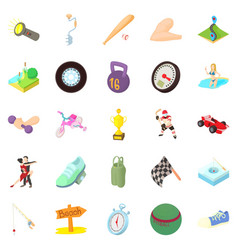 Race icons set cartoon style vector
