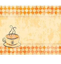 retro background with a cup of coffee vector image