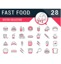 Set flat line icons fast food vector