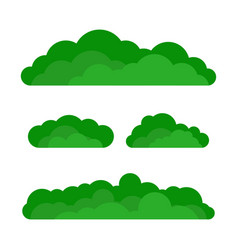 set of cartoon green bushes vector image vector image