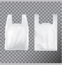 set of disposable t-shirt plastic bag package vector image