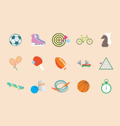 Set of sport icons in flat design vector