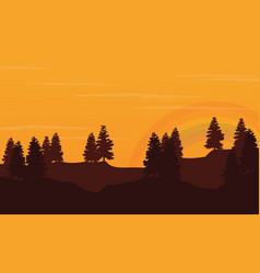 Silhouette of hill with orange sky landscape vector