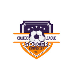 soccer football college league badge icon vector image