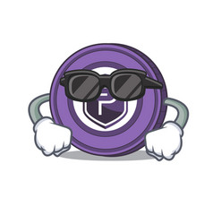 Super cool pivx coin character cartoon vector