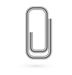 V Paper clip on paper Realistic vector image