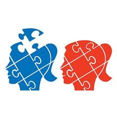 Woman head puzzle vector