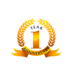 1 years ribbon anniversary vector